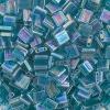 Miyuki Tila Bead 5X5mm 2 Hole Turquoise Green Transparent Aurora Borealis Luster